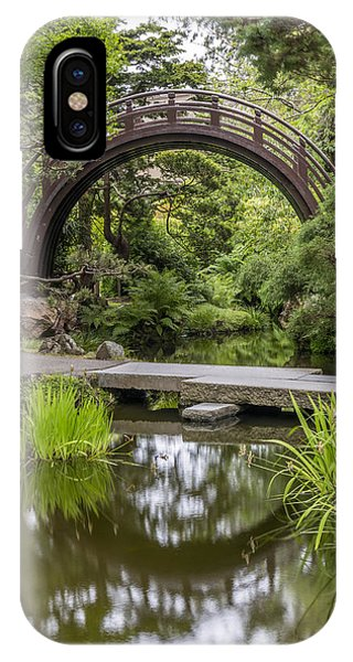 Golden Gardens iPhone Case - Moon Bridge Vertical - Japanese Tea Garden by Adam Romanowicz