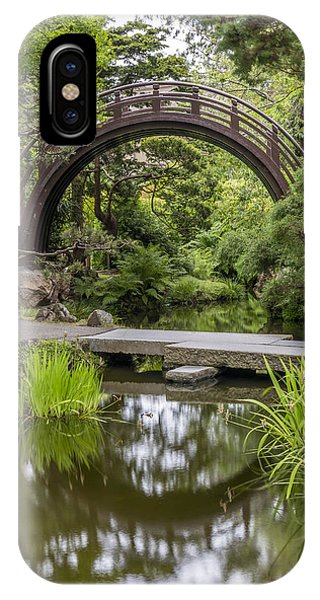Moon Bridge Vertical - Japanese Tea Garden IPhone Case