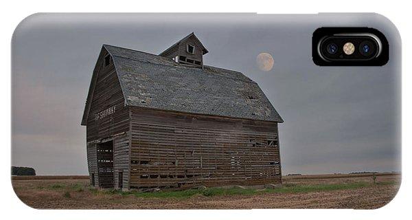 Moon Over Abandoned Iowa Corn Crib IPhone Case