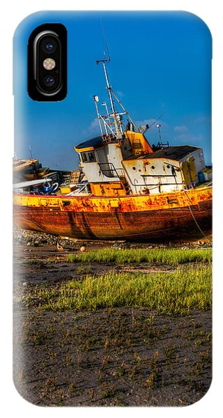 Moon Over Beached Fishing Boat In Rampside Uk IPhone Case