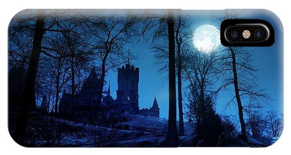 Upland iPhone Case - Moon Over Drachenfels Castle by Detlev Van Ravenswaay