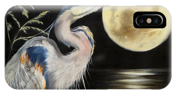 Moon Over Mississippi A Great Blue Herons Perspective IPhone Case