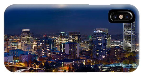 Moon Over Portland Oregon City Skyline At Blue Hour IPhone Case