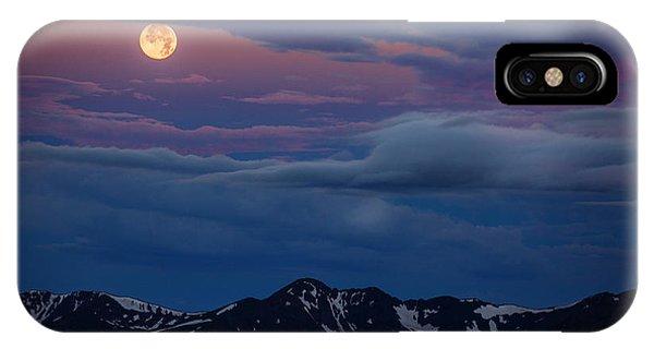 Moon Over Rockies IPhone Case