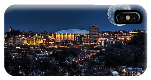 Dome iPhone Case - Moon Over The Carrier Dome by Everet Regal