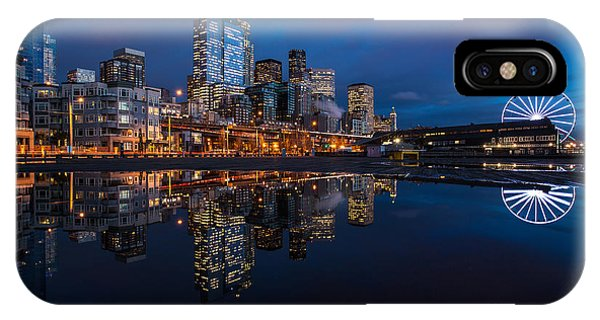 Downtown Seattle iPhone Case - Moon Over The Waterfront by Mike Reid