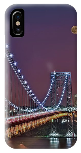 Moon Rise Over The George Washington Bridge IPhone Case
