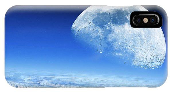 Moon Rising Over Earth's Horizon Phone Case by Detlev Van Ravenswaay