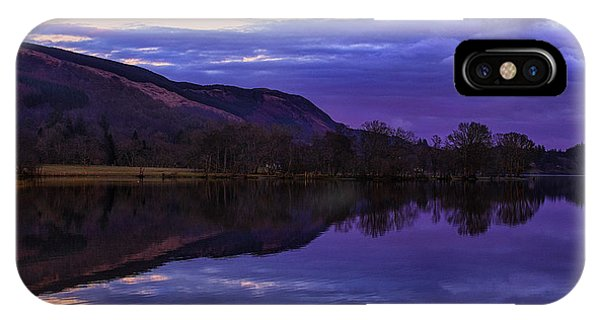 Loch Ard iPhone Case - Moon Rising Over Loch Ard by John Farnan