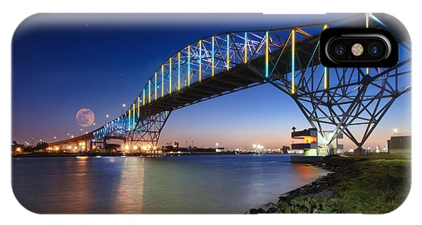 Moon Setting Over Corpus Christi Bridge IPhone Case