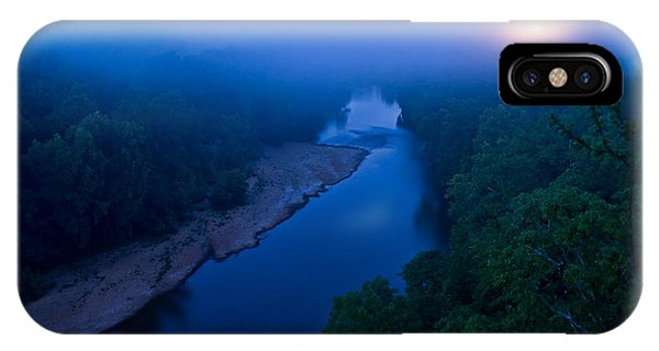 Moon Setting Over The Current River IPhone Case