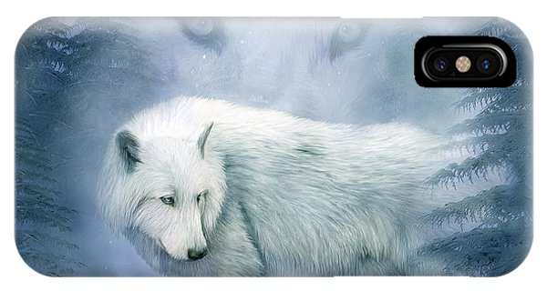 Moon iPhone Case - Moon Spirit 2 - White Wolf - Blue by Carol Cavalaris