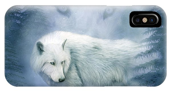 Moon Spirit 2 - White Wolf - Blue IPhone Case