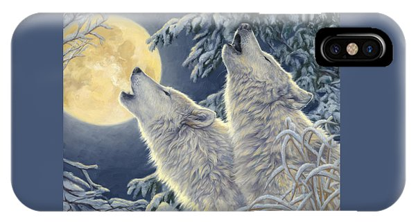 Wolf iPhone Case - Moonlight by Lucie Bilodeau
