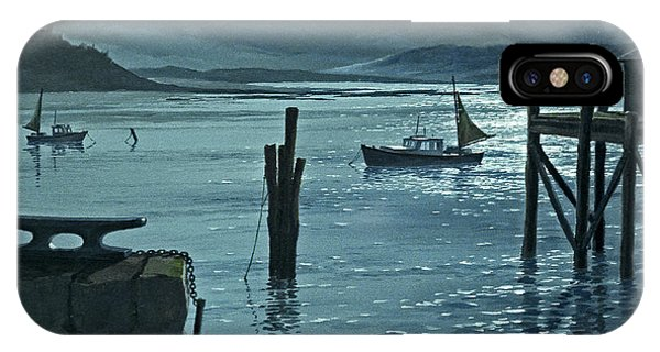 Moonlight iPhone Case - Moonlight On The Harbor by Paul Krapf