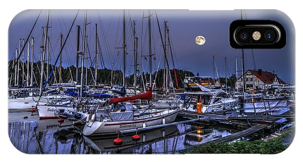 Moonlight Over Yacht Marina In Leba In Poland IPhone Case