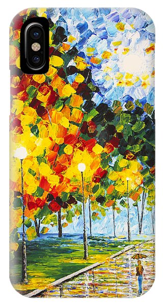 IPhone Case featuring the painting Moonlight Raindrops Original Acrylic Palette Knife Painting by Georgeta Blanaru
