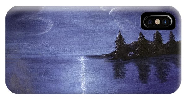 IPhone Case featuring the painting Moonlit Lake by Judy Hall-Folde