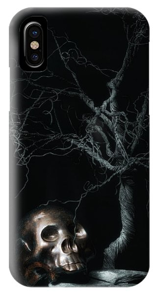 Moonlight iPhone Case - Moonlit Skull And Tree Still Life by Tom Mc Nemar
