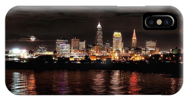 Moonrise Over Cleveland Skyline IPhone Case