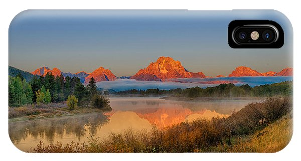 Moonset Over Oxbow Bend IPhone Case