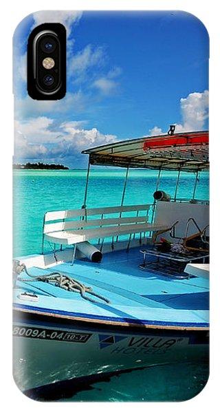 Moored Dhoni At Sun Island. Maldives IPhone Case