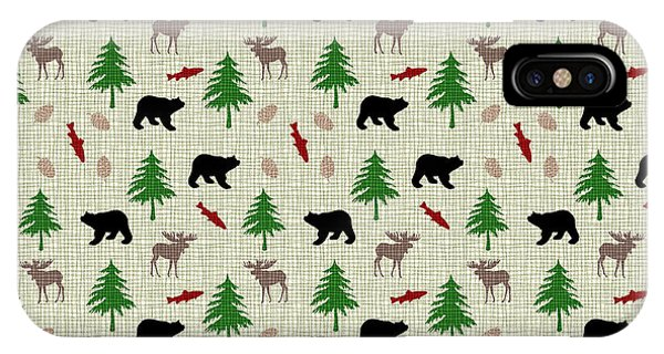 Moose And Bear Pattern IPhone Case