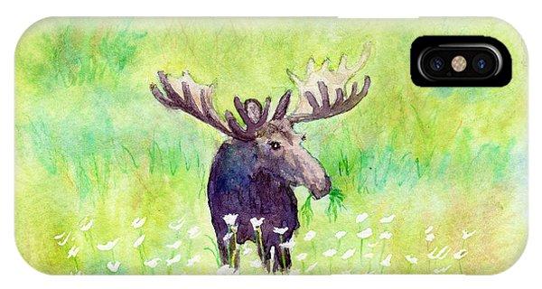 Moose In Flowers IPhone Case
