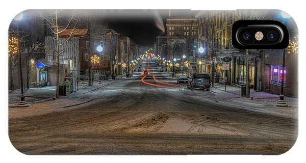 Morgantown High Street On Cold Snowy Night  IPhone Case