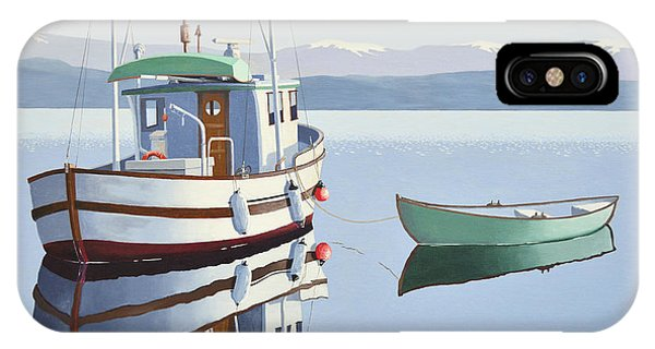 Morning Calm-fishing Boat With Skiff IPhone Case