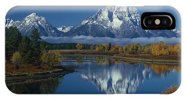 Morning Cloud Layer Oxbow Bend In Fall Grand Tetons National Park Wyoming IPhone Case