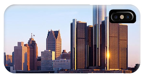 Renaissance Center iPhone Case - Morning, Detroit, Michigan, Usa by Panoramic Images