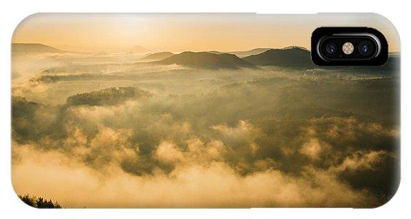 Morning Fog In The Saxon Switzerland IPhone Case