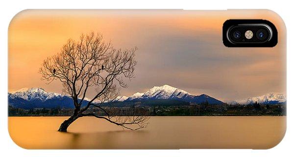 Lake iPhone X Case - Morning Glow Of The Lake Wanaka by Hua Zhu