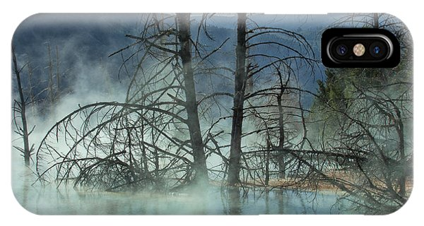 Mammoth Hot Springs iPhone Case - Morning Mist At Mammoth Hot Springs by Sandra Bronstein