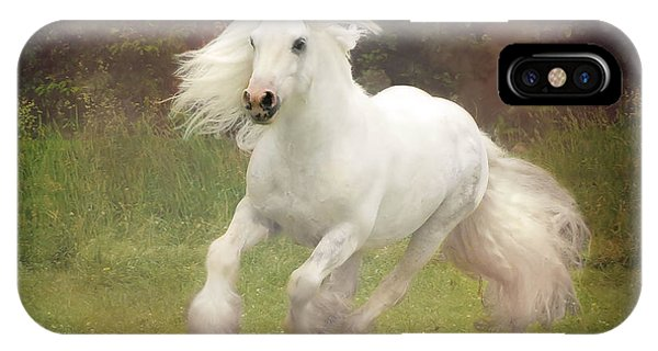 White Horse iPhone Case - Morning Mist C by Fran J Scott