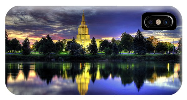 Morning Reflections Of Idaho Falls Temple  IPhone Case