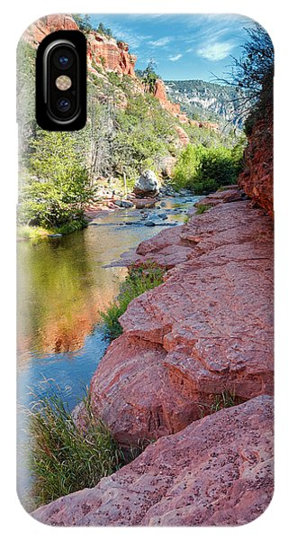 Cathedral Rock iPhone Case - Morning Sun On Oak Creek - Slide Rock State Park Sedona Arizona by Silvio Ligutti