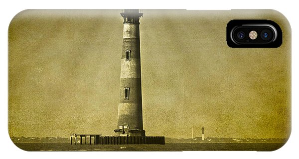 Morris Island Light Vintage Bw Uncropped IPhone Case