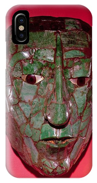 Maya iPhone Case - Mosaic Mask, From Palenque, Chiapas Jade by Mayan
