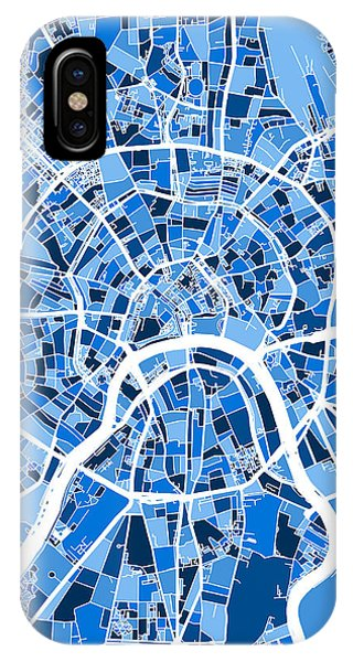 Moscow iPhone Case - Moscow City Street Map by Michael Tompsett