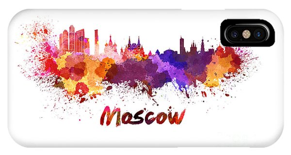 Moscow Skyline In Watercolor IPhone Case