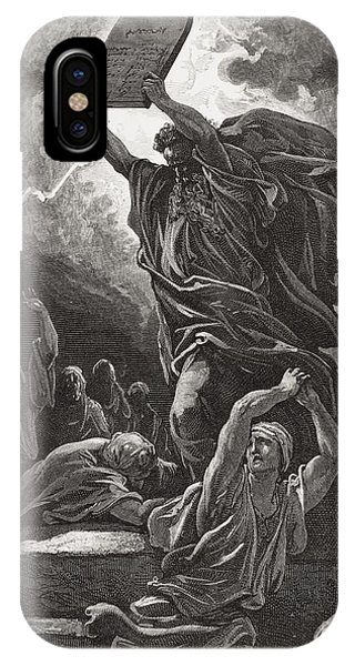 Fury iPhone Case - Moses Breaking The Tablets Of The Law by Gustave Dore
