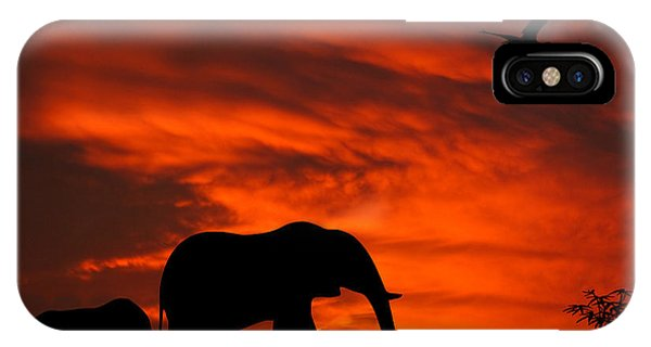 Mother And Baby Elephants Sunset Silhouette Series IPhone Case
