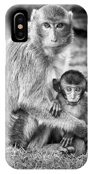 Wildlife iPhone Case - Mother And Baby Monkey Black And White by Adam Romanowicz
