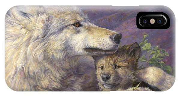 Wolf iPhone Case - Mother's Love by Lucie Bilodeau