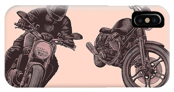 Road Signs iPhone Case - Motorcycle. Hand Drawn Engraving by Marzufello