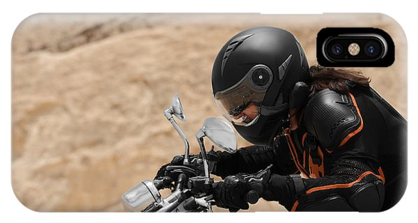 Motorcyclist In A Desert IPhone Case
