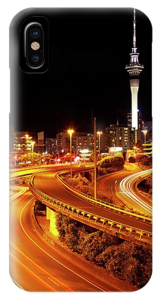 Commute iPhone Case - Motorways And Skytower, Auckland, North by David Wall