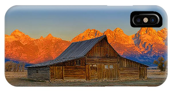 Moulton Barn Alpenglow Panorama IPhone Case